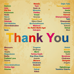 Thank you in 74 languages in the world background