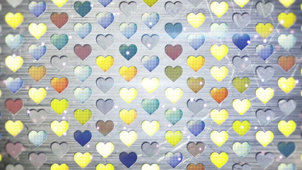 colorful flashing heart shapes loopable background