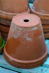 Stack of used terra cotta flower pots