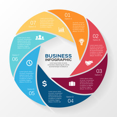 Vector circle infographic diagram 7 options