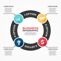 Vector circle arrows infographic diagram 4 options