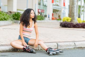Sitting on the pavement