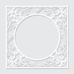 Filigree frame paper cut.