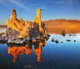 Orange sunset on Mono Lake