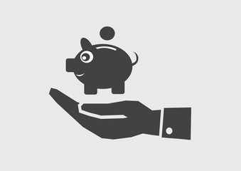 Hand and piggy bank icon