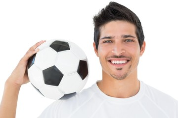 Close-up portrait of a smiling football fan