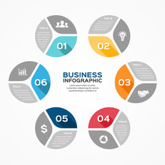 Circle infographic, diagram, presentation 6 options