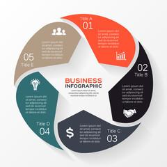 Circle star infographic, diagram, presentation 6 options