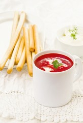 beetroot  and tomato creamy  diet soup