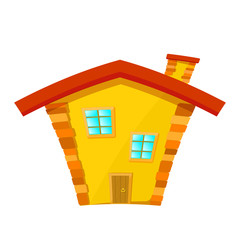 Yellow house with red roof isolated on white background. Cartoon