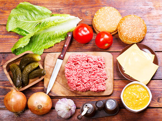 Raw beef  for hamburger with vegetables