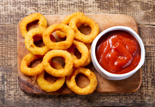 canvas print picture onion rings with ketchup