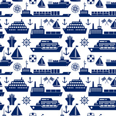 Ships and boats marine seamless background