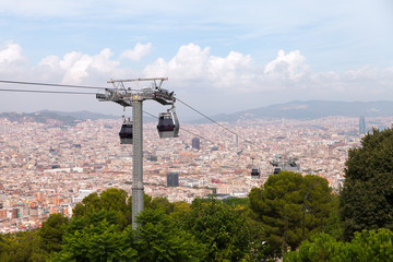 Cableway in Barcelona, Spain.