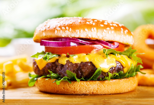 hamburger with fries - 70882313