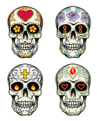Skulls with flowers