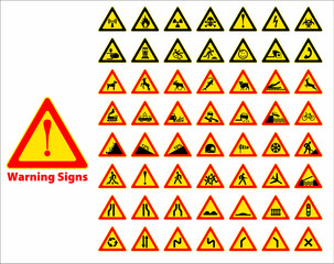 Warning sign symbol. Set design element.
