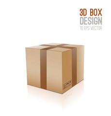 3D Cardboard box icon.
