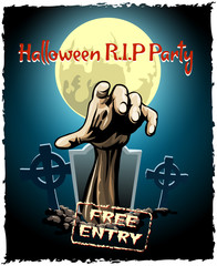 zombie party halloween poster
