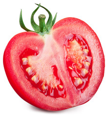 Half of tomato on a white background.