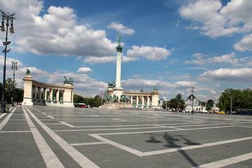 BUDAPEST - CIRCA JULY 2014 : Tourists visit Millennium Monument