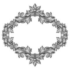 Baroque ornamental antique silver frame on white background.