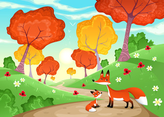 Landscape with family of foxes.