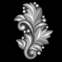 Baroque ornamental antique silver element on black background.