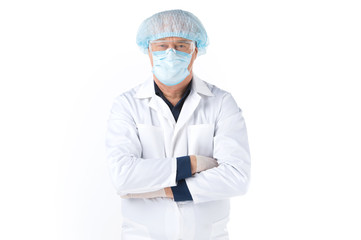 Portrait of scientist wearing blue surgical mask.