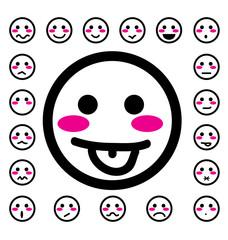 emotion faces icons set vector illustration