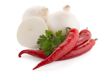 Onion, chilli peppers and parsley