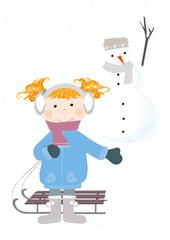 dziewczynka na śniegu, bałwan, zima -  wektory