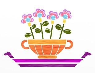 fiori in tazza colorata