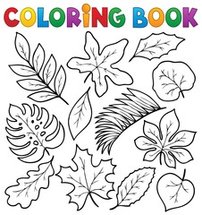 Coloring book leaves theme 1