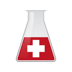 Chemical test tube with the swiss flag
