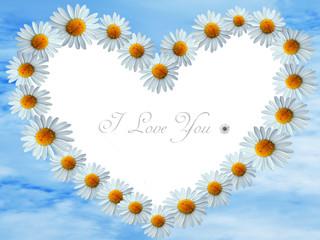 heart frame with daisy flowers and blue sky