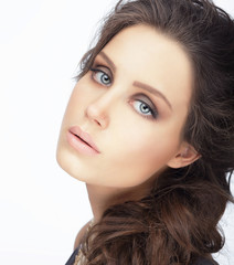 Complexion. Natural Brunette with Clean Skin