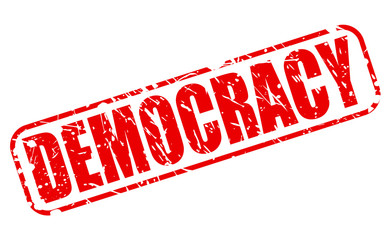 Democracy red stamp text