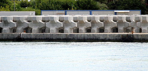 very big concrete blocks to build a large dam in the sea