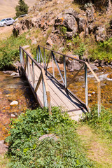 Bridge and Assy plateau in Tien-Shan mountain in  Kazakhstan