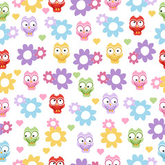 seamless owl background pattern for kids in vector