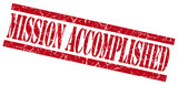 mission accomplished red grungy stamp on white background poster