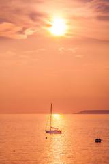 Sunset over Hope Cove, Devon, England, U.K