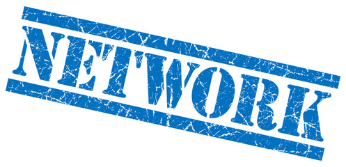 network blue grungy stamp on white background