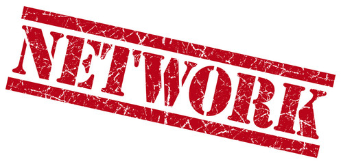network red grungy stamp on white background