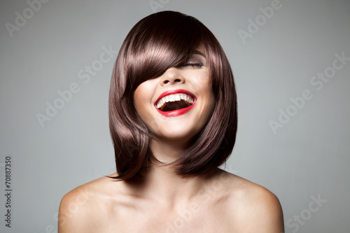 Poster, Tablou Smiling Beautiful Woman With Brown Short Hair. Haircut. Hairstyl