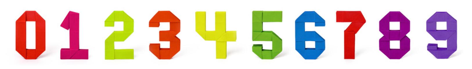 Origami paper number set
