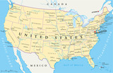 Fototapety United States of America Political Map with single states