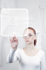 woman working with futuristic interface