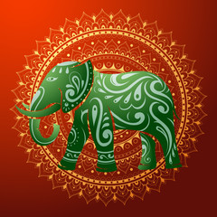 Indian elephant with ethnic ornament